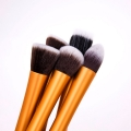 Synthetic Hair Cosmetic Foundation Blending Makeup Brushes Kit in Orange(5pc-set)