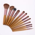 Wooden  Makeup Brushes Set Synthetic Foundation Eyebrow Eyeshadow Powder Brushes Kit(12pc-set)