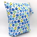 Washable & Reusable Zippered Large Waterproof Blue Ladybugs Wet/Dry Bag with Soft Snap Handle