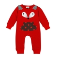 Baby's Super Cute Red Fox Long Sleeve Jumpsuit/One-Piece with Star Pocket