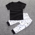Baby Boy's Black Cotton Top Fun Words Graphic Tee & White Pants/Bottom Set