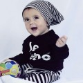 Baby Boy's Black Long-Sleeve Tee/Top & Striped Pants/Bottom Set