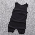 Baby Boy's Cotton Sleeveless To The Moon Romper/One-Piece in Black