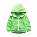 Boy's Cotton Coat 3D Dino Horns Hooded Jacket in Green