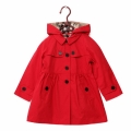 Girl's Hooded Button-Down Swing Trench Coat in Red