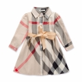Toddler/Girl's Plaid Button-Down Long-Sleeve Dress with Ribbon Tie in Beige