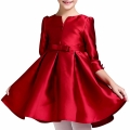 Girl's Elegant Party Dress in Burgundy