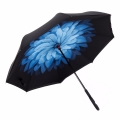 Blue Daisy Double Layer Hands-Free Reversible Umbrella