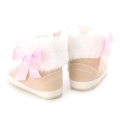 Baby Girl's Faux Fur Fold-Over Cotton Boots in Beige