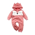 Infant/Toddler's Cute Fox Graphic Hooded Jumpsuit with 3D Ears in Pink (Unisex)