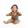 Baby/Toddler's Cotton Star Pattern & Appliqué Blue Patch Jumpsuit