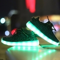 (Size Runs Small) Lace-Up Chargeable LED Sneakers in Black Melange