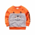 Toddler/Girl's Embroidered Cat Striped Pullover