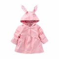 Baby/Toddler Girl's Floral-Accent Hooded Swing Trench Coat in Pink