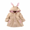 Baby/Toddler Girl's Floral-Accent Hooded Swing Trench Coat in Khaki