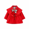 Baby Girl/Girl's Bowknot Decorated Caped Trench Coat in Red
