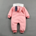 Infant/Toddler's Rabbit Hooded Plush-Lined Jumpsuit with 3D Ears in Pink