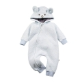 Infant/Toddler's Bear Hooded Zip-Up Jumpsuit with 3D Ears in Blue
