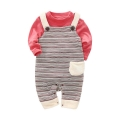 Casual Style Long Sleeve Bodysuit and Overall Set in Red for Baby Unisex