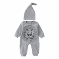 Adorable Lion Patterned Infant Baby Cotton Jumpsuit and Beanie Set
