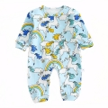 Merry Unicorn Patterned Cotton Jumpsuit in Blue for Baby