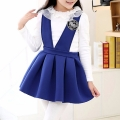 Girl's Lace Collared White Long-Sleeve Top & Royal Blue Overall Dress Set (2pc-set)