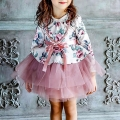 Girl's High-Waist Floral Tutu Dress & Necklace Set in Pink (2pc-set)