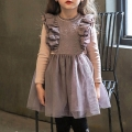 Girl's Faux-Two Long-Sleeve Ruffle Princess Tutu Dress in Purplish Grey