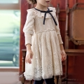 Girl's Ruffle Collared Long-Sleeve Cutout Lace Dress in Apricot