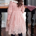 Girl's Ruffle Collared Long-Sleeve Cutout Lace Dress in Pink