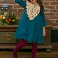 Girl's Lace & Bead Accented Princess Dress in Blue