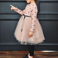 Girl's Polka Dotted Lace Princess Dress in Pink