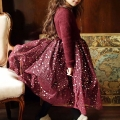 Girl's Dazzling Starry Party Dress in Burgundy