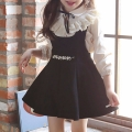Girl's White Lace-Trimmed Long-Sleeve Top & Black Pinafore Dress Set (2pc-set)