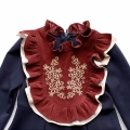 Girl's Ruffle-Trimmed Embroidered Floral Pleated Dress in Navy