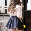 Girl's Graceful Pink Ruffle Blouse & Navy High-Waist Suspender Skirt Set (2pc-set)