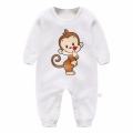 Jolly Monkey Solid White Baby Jumpsuit Unisex