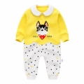 Puppy Baby Cotton Jumpsuit in Yellow Unisex