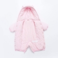 Infant/Toddler Girl's Sweet Appliqued Giraffe Fleece Hooded Jumpsuit with Ears