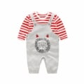 Newborn/Infant's Striped Tee & Lion Overall Pants Set (2pc-set)
