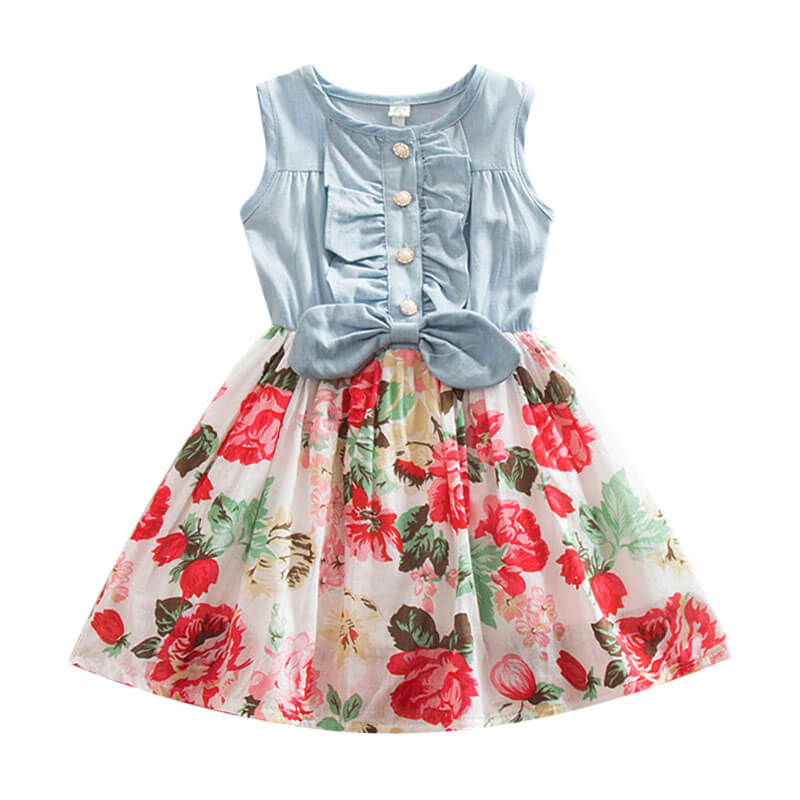 Vintage Sleeveless Floral Dress for Toddlers and Girls
