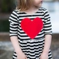 Statement Heart Appliqued Striped Long Sleeve Dress for Toddlers and Girls