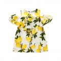 Girl's Lemon Printed Off-the-Shoulder Dress