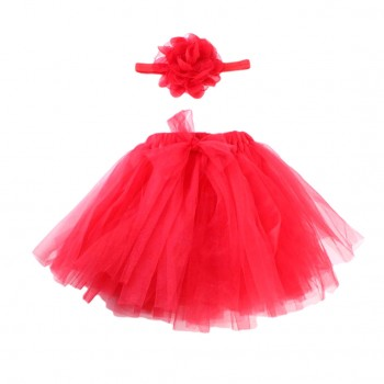 Newborn Baby Girls Lovely Tutu Skirt Floral Headband Set