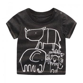 Animal Graphic Black T-shirt for Toddler Boys