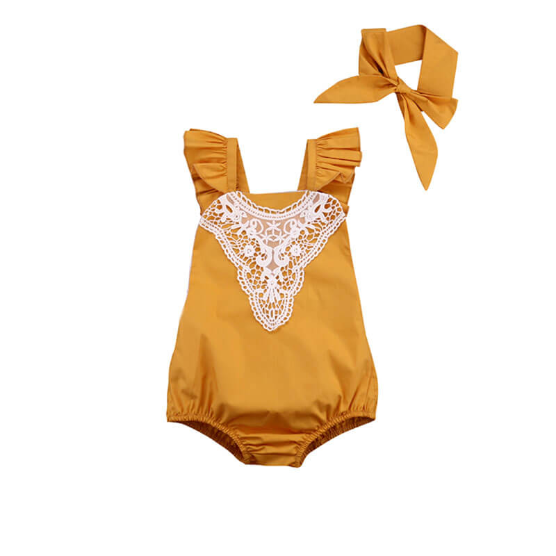 Lace & Ruffles Romper and Headband Set in Yellow for Baby Girl