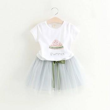 Baby Girl's/ Girl's Watermelon Graphic T-shirt and Bowknot Tutu Skirt Set