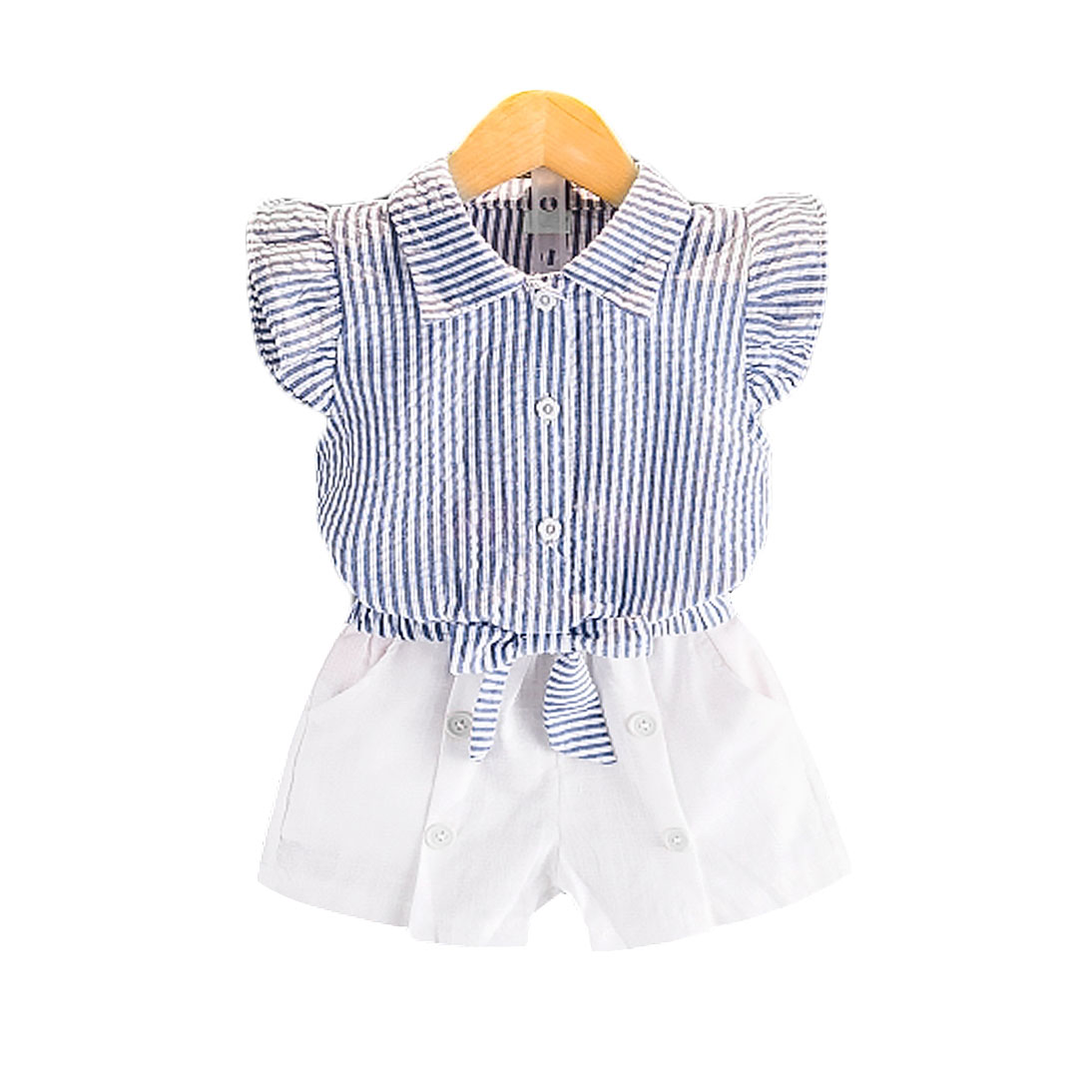 Sweet Blue Striped Angel-Sleeve Top & Shorts Set for Toddler Girls