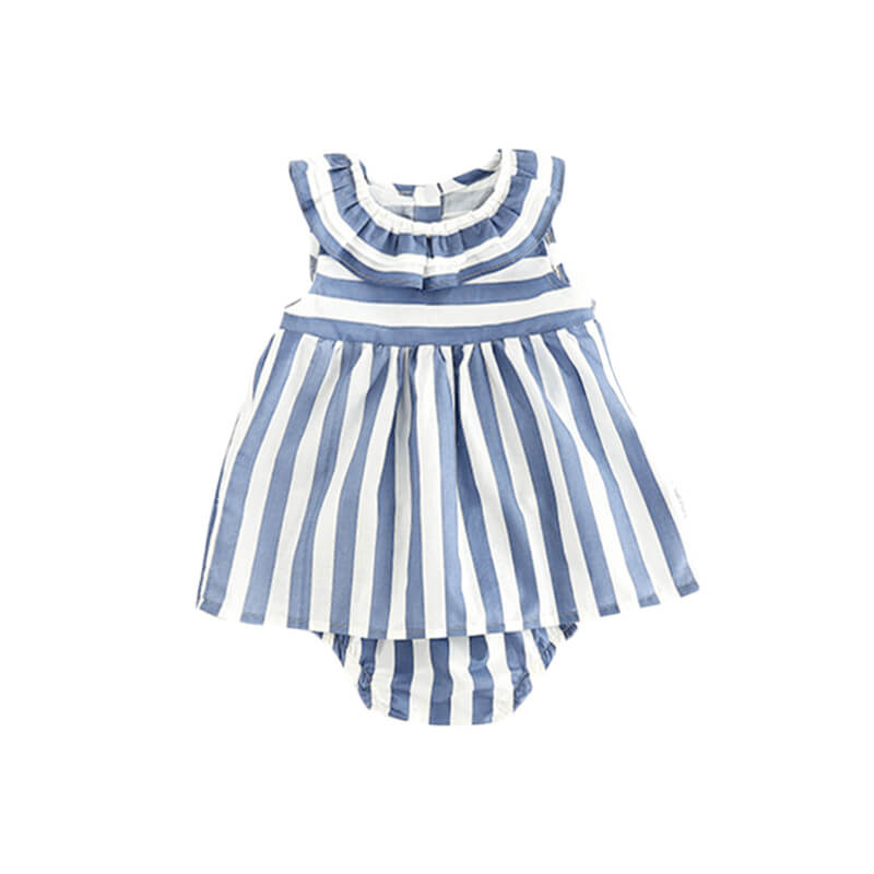 2-Piece Striped Sleeveless Dress and Shorts Set