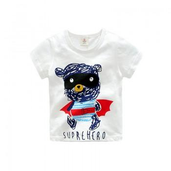Bear and SUPERHERO Printed Short-Sleeve Tee for Babies and Toddlers